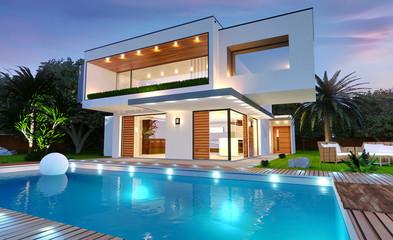 Belle maison moderne d'architecte avec piscine avec éclairage de nuit