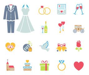 Hochzeit Iconset - Farbe