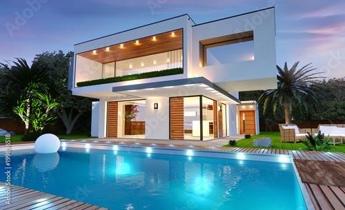 Belle maison moderne d\'architecte avec piscine avec éclairage de ...