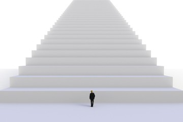 Success concept with businessman, Image of miniature businessman standing in front of white stair on white wall background, 3D rendering