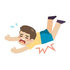 Boy slip and stumble on the floor, vector illustration.