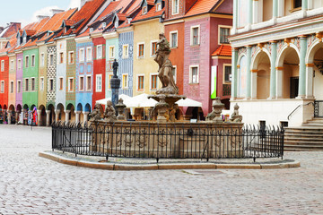 Wall Mural - Proserpine Fountain XVIIIc and medieval houses on the central market square in Poznan, PolandPoznan, Poland