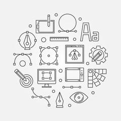 Graphic design concept line illustration. Vector symbol
