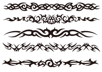 Tattoo tribal vector design art set.