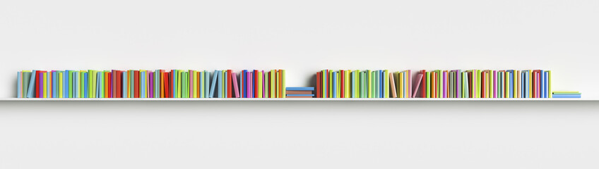 Multicolored books on a shelf