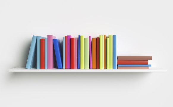 Multicolored books on a shelf