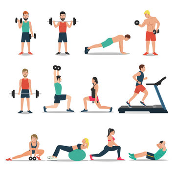 Men and women workout set isolated on white background. Cardio, weightlifting, treadmill, bodybuilding