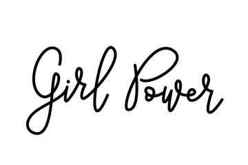 Girl Power text . Monoline calligraphy script. Cute design for print woman shirt. Feminism slogan. Vector illustration