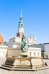 Fototapete - Fountain of Neptune, details of old market square in Poznan at summer day, Poland
