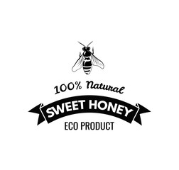 Bee Honey Label in Vintage Style.  illustration isolated on white