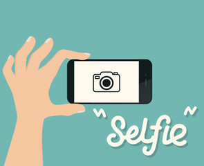 hand hold smartphone  selfie  flat illustration