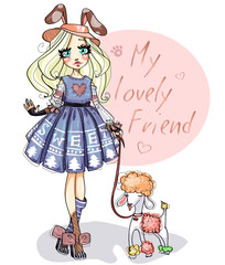 Cute little girl with her dog poodle. Lovely friends cartoon character hand drawn vector kids illustration