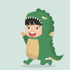 Tuinposter Feeën en elfen Cute boy Fashion Dinosaur Animal Onesie