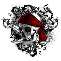 decorative art background with skull, , high detailed realistic illustration