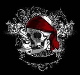 decorative art background with skull,  high detailed realistic illustration