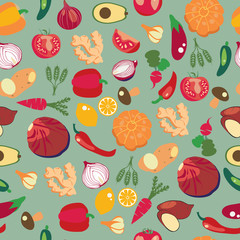 background of fresh and healthy food. Vegetables pattern in flat style