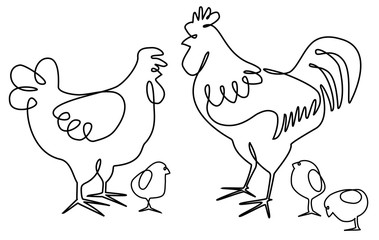 Cock, hen and chickens one line drawing design