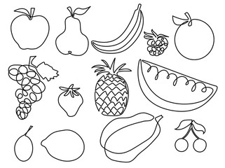 Abstract fruits one line drawing design