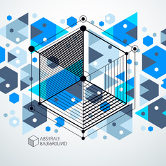 Engineering technology vector blue wallpaper made with 3D cubes and lines. Engineering technological wallpaper made with honeycombs. Abstract technical background.