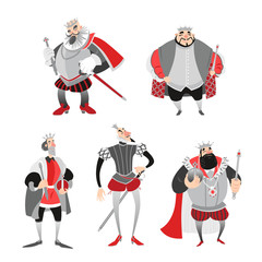 Set of vector illustrations of funny cartoon kings in historical costumes. Isolated fairy tale characters on a white background