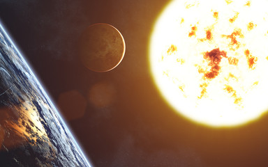 Red giant star. Solar system. Sun. Earth landscape. Venus. Image in 5K resolution for desktop wallpaper. Elements of the image are furnished by NASA