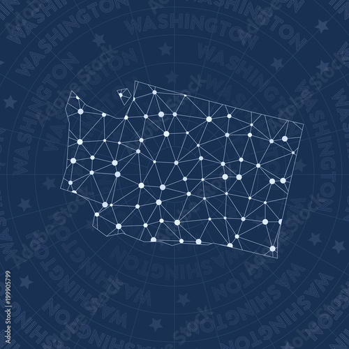 Washington network, constellation style us state map