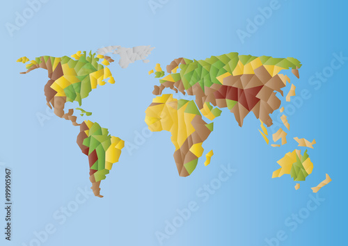 Color vector world map illustration continents silhouettes of bight color vector world map illustration continents silhouettes of bight gradient low polygonsrope gumiabroncs Choice Image