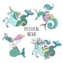 Mythological sea creatures. Vector illustration.