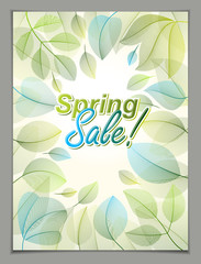 Spring leaves vertical background, nature seasonal template for design banner, ticket, leaflet, card, poster with green and fresh floral elements. Sale, advertising poster, brochure or flyer design.