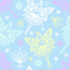 seamless pattern of fairies and flowers. For the design of fabric, paper, scrapbooking
