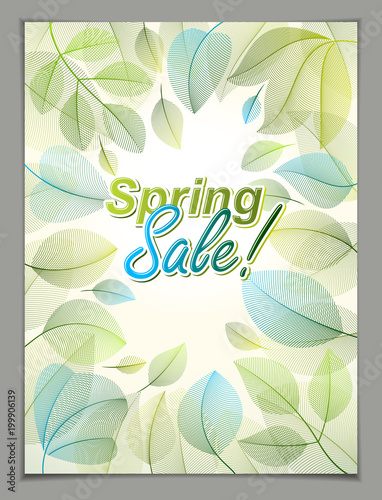 Spring Leaves Vertical Background Nature Seasonal Template For Design Banner Ticket Leaflet