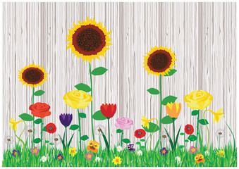 Color vector illustration of beautiful blooming garden. Set of spring and summer flowers. Blooming coloful flowers and wooden fence.