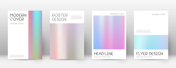Flyer layout. Minimal terrific template for Brochure, Annual Report, Magazine, Poster, Corporate Presentation, Portfolio, Flyer. Appealing pastel hologram cover page.