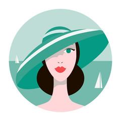 Stylish beautiful model for fashion design. Art deco graphic illustration. Portrait of pretty girl on sea.