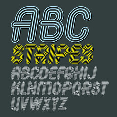 Set of trendy modern vector capital alphabet letters isolated. Disco cursive font for use as business poster design elements. Created using geometric triple stripes.