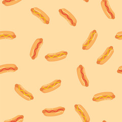 Hot dogs with sausage, tomato ketchup and mustard sauce seamless pattern. Pattern hot dogs on colored background.