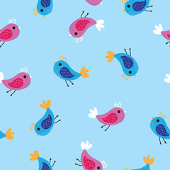 Pink and blue birds pattern background. Seamless pattern colored birds on blue background.