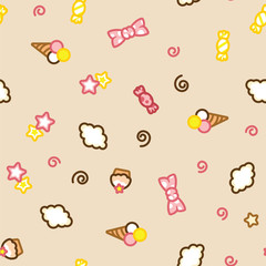 Multicolored candy, ice cream, cake, star and cloud doodle pattern.