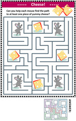Maze game for children with four mice and four pieces of cheese: Can you help each mouse find the path to at least one piece of yummy cheese? Answer included.