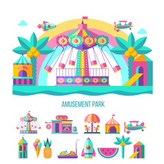 Amusement Park, rides. Vector illustration.