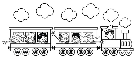 The train with children is going on a trip. Vector illustration, coloring page
