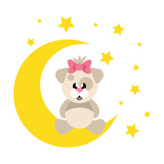 cartoon cute dog girl with bow sitiing and moon