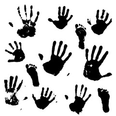 A set of prints of the hands and feet of an adult and a child. Vector illustration.