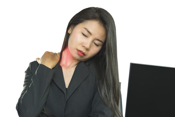 Asian business woman having neck and shoulder pain office syndrome during working on computer and sitting long on chair