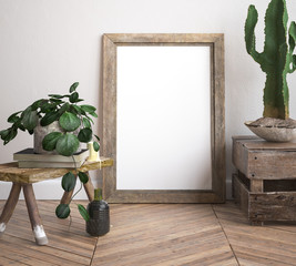 Mock up frame, decorated  rustic background, 3d render