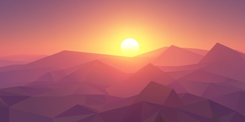 Pink and purple sunset in the mountains. Realistic vector illustration.