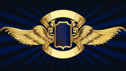 Decorative vintage golden insignia