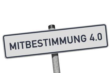 """Metallschild mit der Devise """"MITBESTIMMUNG 4.0"""""""