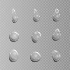 Transparent set of drops. Vector illustration isolated on transparent background