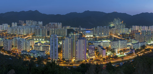 Aerial view of residential district of Hong Kong city at dusk